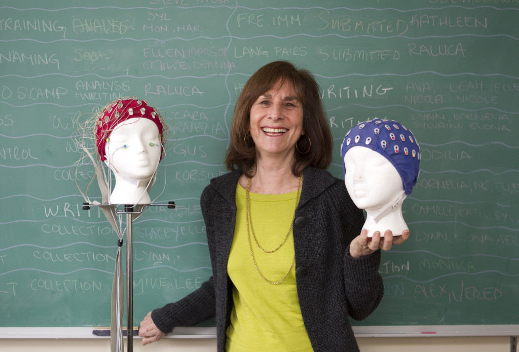 Canadian research psychologist Ellen Bialystok with electrode caps for use with an electroencephalograph. (Photo used with permission of Ellen Bialystok)