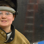 A student learns welding at a vocational high school in Massachusetts. (Photo: Emily Hanford)