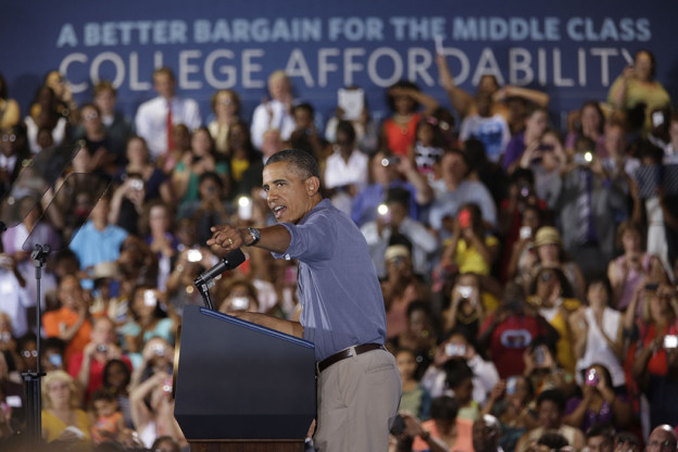 President Barack Obama delivers remarks at Henninger High School in Syracuse, New York, during the college affordability bus tour, Aug. 22, 2013. (O